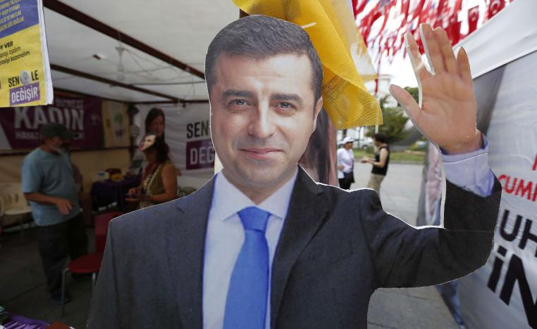 A cardboard cut-out of Selahattin Demirtas, the jailed former co-chair and the presidential candidate of the pro-Kurdish Peoples' Democratic Party, (HDP) who is fighting terrorism-related charges.