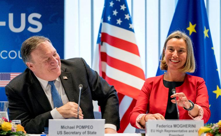 US Secretary of State Mike Pompeo, left, and EU foreign policy chief Federica Mogherini.