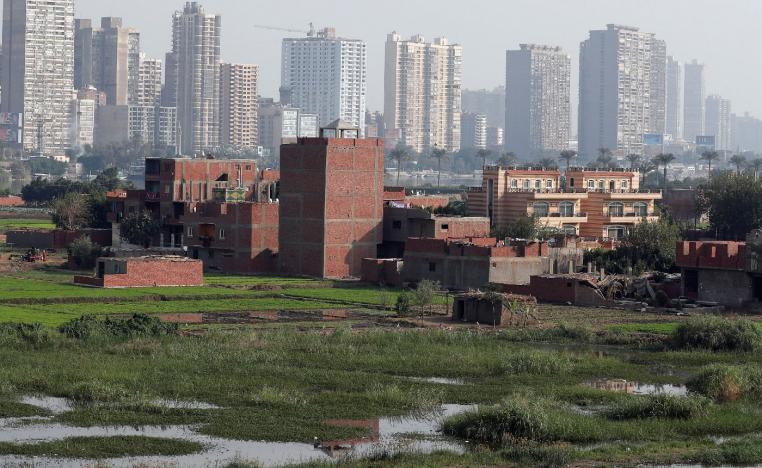 A view of houses and farmland on an island on the River Nile in front of high-rise buildings in Cairo, Egypt, November 25, 2018.