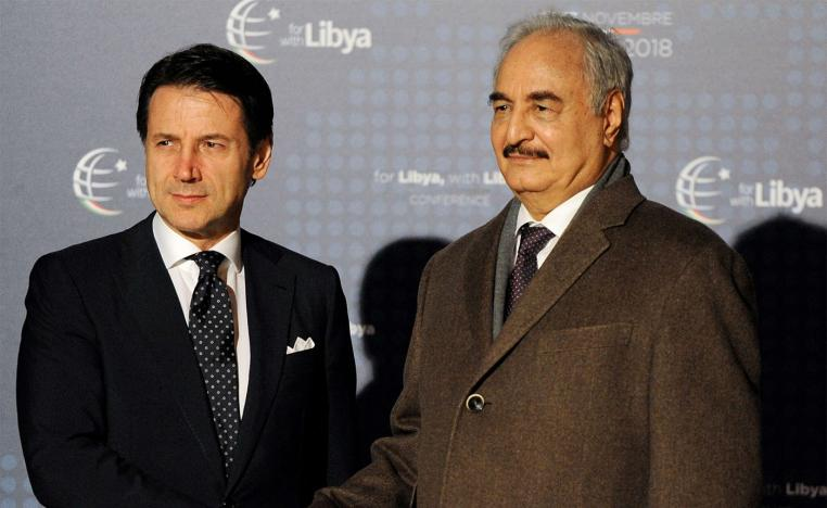 Italy's Prime Minister Giuseppe Conte welcomes Libyan military commander Khalifa Haftar