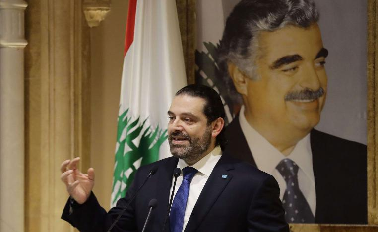 Lebanese Prime Minsiter Saad Hariri speaks during a press conference at his residence in downtown Beirut on November 13, 2018.