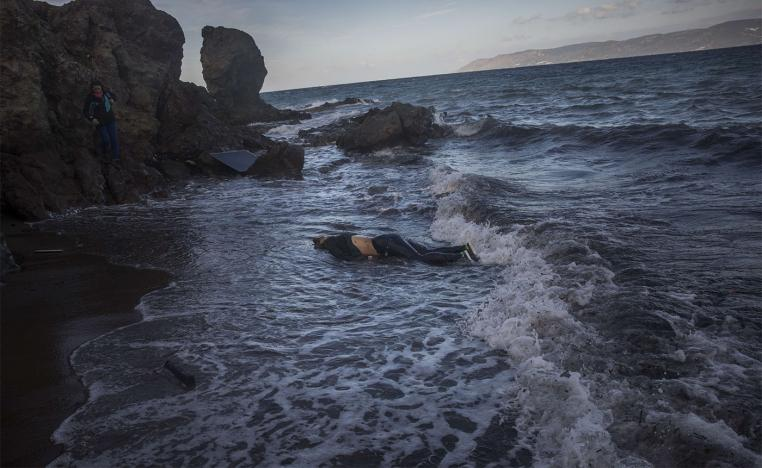 the body of an unidentified woman washes up on a beach at the village of Skala, on the Greek island of Lesbos
