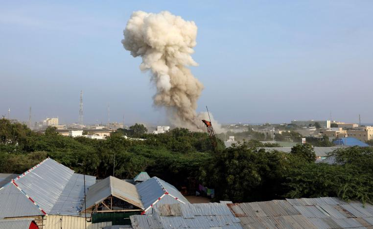 Smoke billows from the scene of an explosion in Mogadishu, Somalia November 9, 2018.