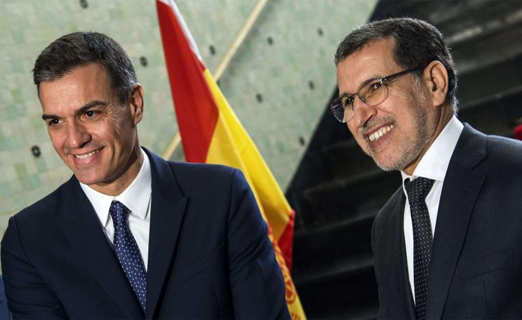 Morocco's Prime Minister Saad Eddine el-Othmani is pictured with his Spanish counterpart Pedro Sanchez in Rabat