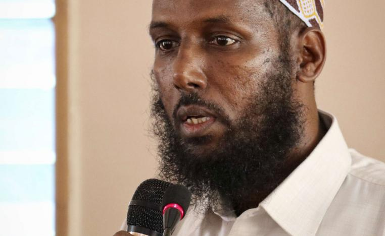 Mukhtar Robow, who was once deputy leader of Africa's deadliest Islamic extremist group the al-Qaida-linked al-Shabab, speaks at a press conference about his candidacy for a regional presidency, in Baidoa, Somalia.