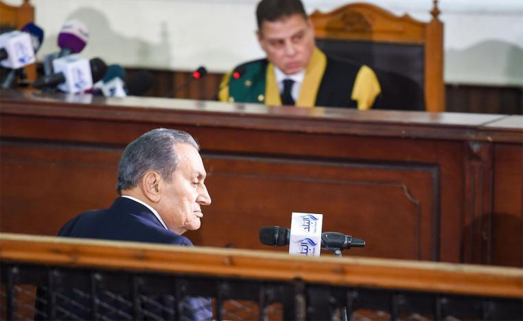 Mubarak testifying about jailbreaks allegedly orchestrated by Morsi and other members of his Muslim Brotherhood group during the uprising