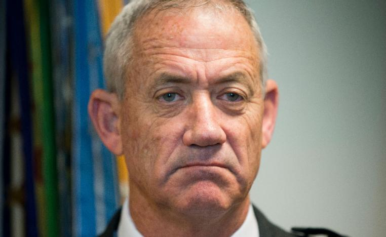 In this Thursday, Jan. 8, 2015 file photo, Israeli Defense Minister Benny Gantz pauses as he answers questions from members of the media during his meeting with Joint Chiefs Chairman Gen. Martin E. Dempsey, at the Pentagon.