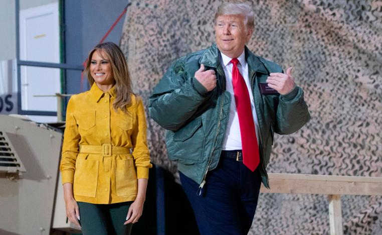 US President Donald Trump delivers remarks to U.S. troops in an unannounced visit to Al Asad Air Base, Iraq December 26, 2018.