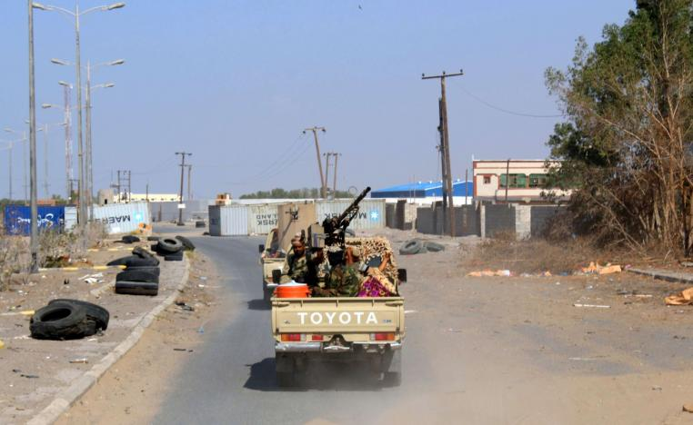Yemeni pro-government forces are pictured on the eastern outskirts of Hodeidah.