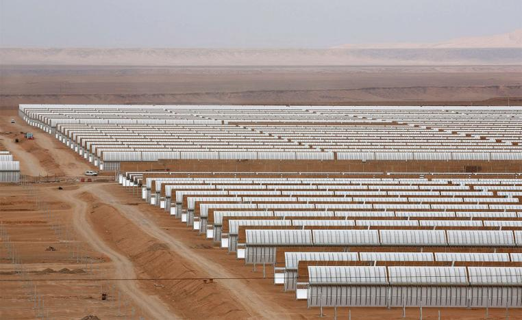 A thermosolar power plant is pictured at Noor II near the city of Ouarzazate, Morocco