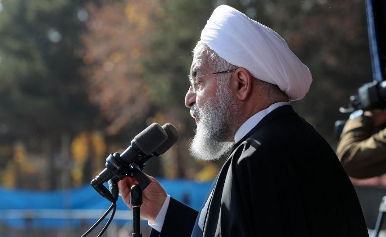 Iran's President Hassan Rouhani speaking during a rally in the city of Shahrud.