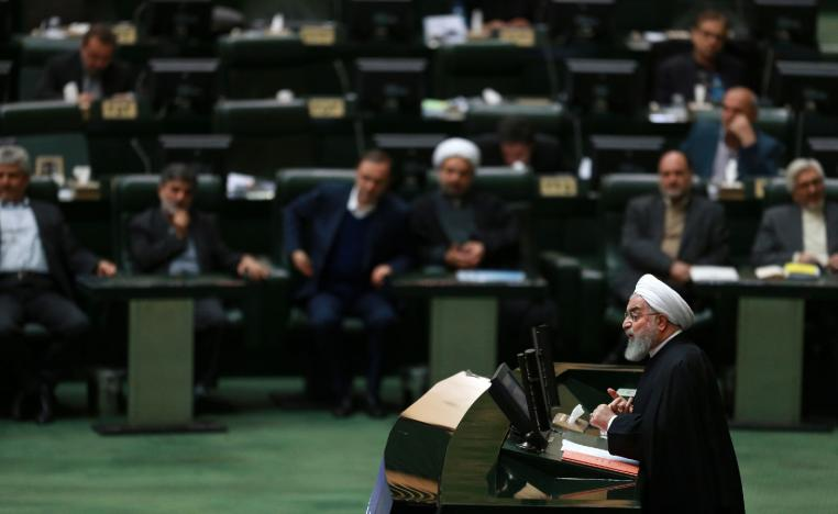 Iranian President Hassan Rouhani speaks as he submits next year's budget bill to parliament in Tehran, Iran, Tuesday, Dec. 25, 2018.