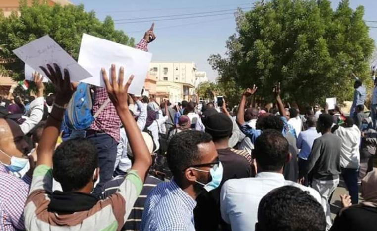 People chant slogans during a demonstration in Khartoum, Sudan on Dec. 25, 2018.