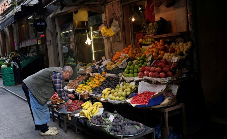 A vendor displays fruits in his shop in a local market in central Istanbul, Turkey October 9, 2018.