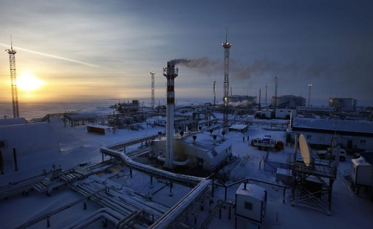 Oil facility north of the town of Nadym in northern Russia.