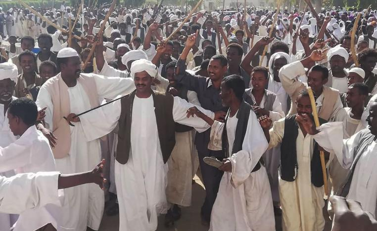 Crowds of supporters of the Sudanese President wave sticks as they gather in Sudan's eastern city of Kassala on January 7, 2019.