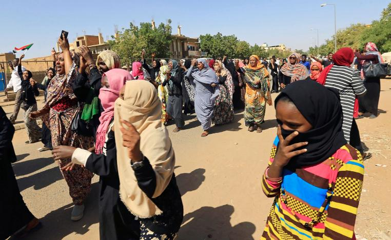 Sudanese women chant slogans near the home of a demonstrator who died of a gunshot wound sustained during anti-government protests in Khartoum, Sudan January 18, 2019.