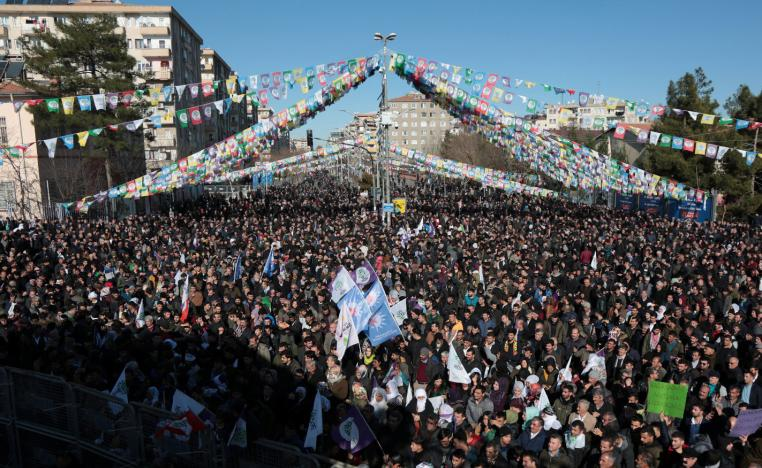 Supporters of pro-Kurdish Peoples' Democratic Party (HDP) attend a demonstration in solidarity with the jailed lawmaker Leyla Guven, in Diyarbakir, Turkey January 19, 2019.