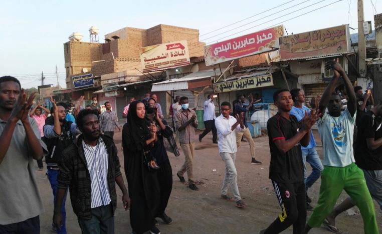 A picture taken on January 15, 2019 shows anti-government demonstrators in the Sudanese capital Khartoum's southern business district of El-Kalakla.