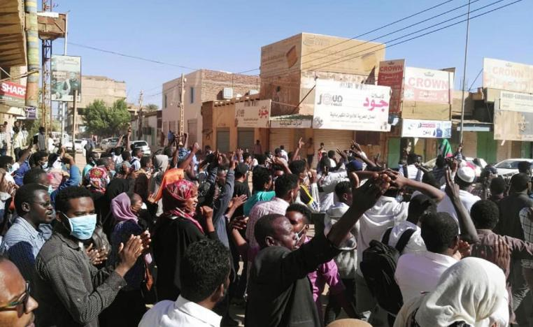 Sudanese protesters chant slogans during an anti-government demonstration in the capital Khartoum on January 6, 2018.