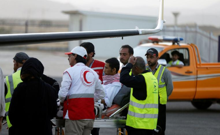Saudi prisoner Moussa Awaji is taken on a stretcher to an ICRC plane at the Sanaa airport after he was released by the Huthis in Sanaa, Yemen January 29, 2019.
