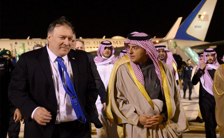 Pompeo is greeted by Saudi's Minister of State for Foreign Affairs Adel al-Jubeir in Riyadh