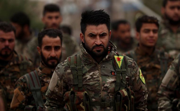 Fighters from the Syrian Democratic Forces (SDF).