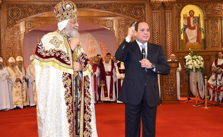 Egyptian Coptic Pope Tawadros II (L) Pope of Alexandria and Patriarch of Saint Marc Episcopate receives Egyptian President Abdel Fattah al-Sisi in January 2018