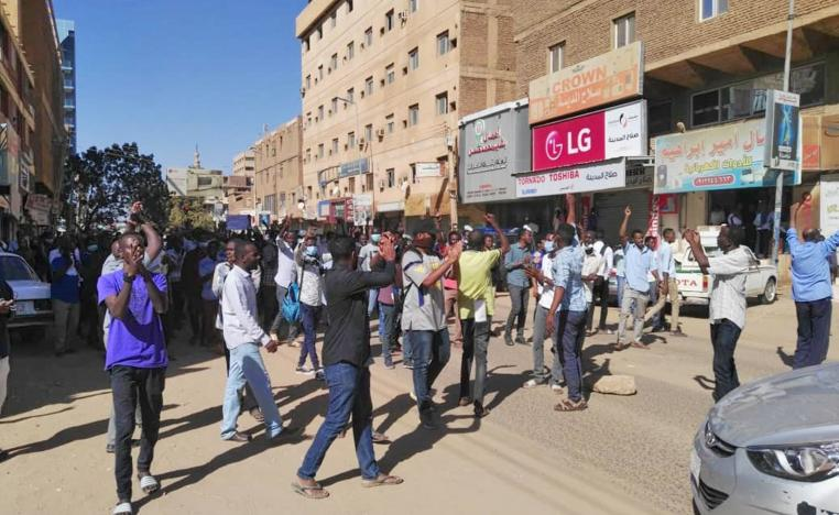 Sudanese protesters chant slogans during an anti-government demonstration in the capital Khartoum on January 6, 2019.