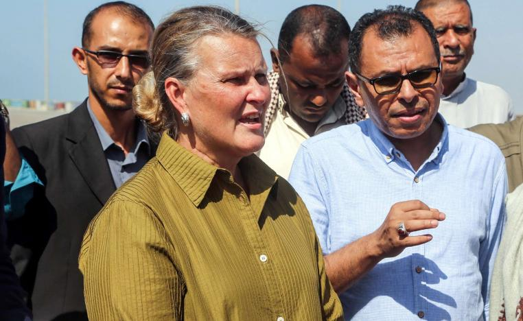 UN Resident Coordinator in Yemen, meets with officials during her visit to the embattled Red Sea port city of Hodeida on January 11, 2019