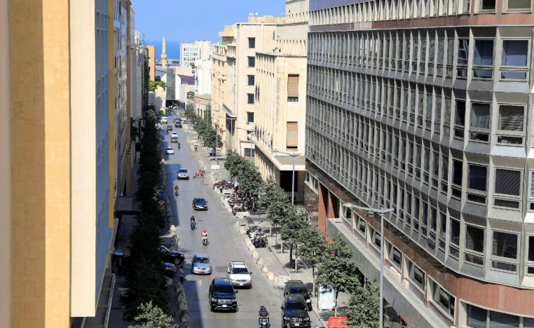 A general view shows a street hosting banks and financial institutions, known as Banks Street, in Beirut Central District, Lebanon September 28, 2018.