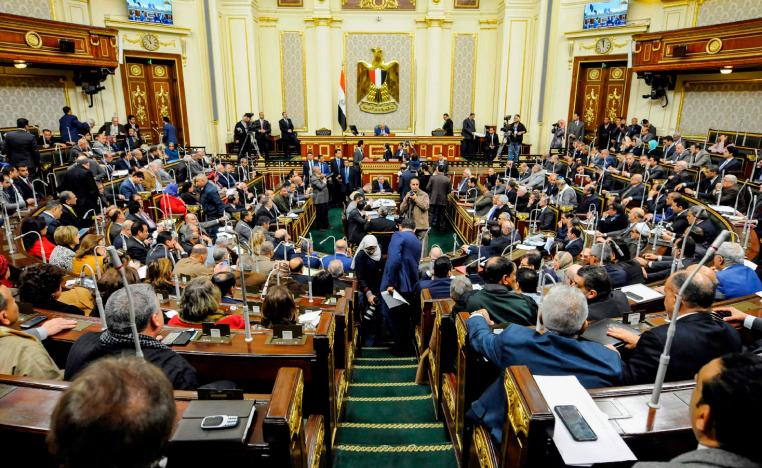 Egypt's Parliament Speaker Ali Abdel-Aal (C) chairs a parliament plenary session to deliberate the proposed constitutional amendments to increase office term durations for the country's president from four to six years, in the capital Cairo on February 14, 2019.
