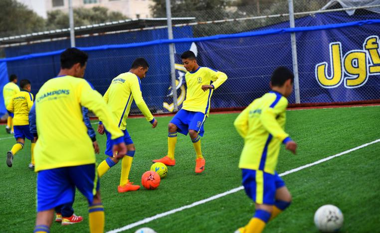Moatasem Al-Nabeeh, 14, who is diagnosed with cancer, plays soccer with fellow cancer patients in Gaza City, February 15, 2019. Picture taken February 15, 2019.