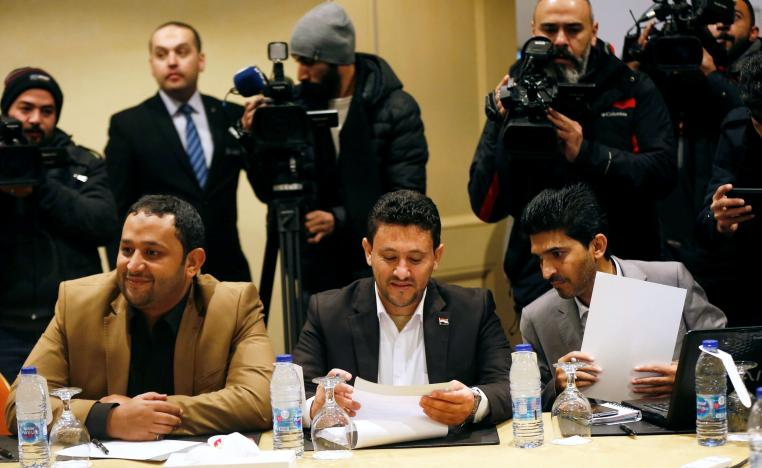 Abdul Qader Murtada, the head of Houthi delegation, attends a meeting to discuss prisoner swap deal between the Yemeni government and Houthi movement in Amman, Jordan January 17, 201
