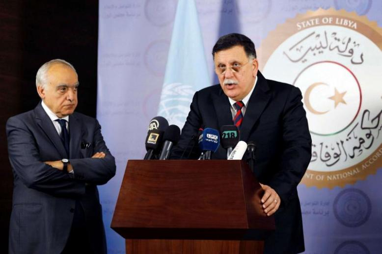 Head of Libyan Presidency Council Fayez al-Sarraj (R) speaks during a news conference with UN Envoy to Libya Ghassan Salame in Tripoli