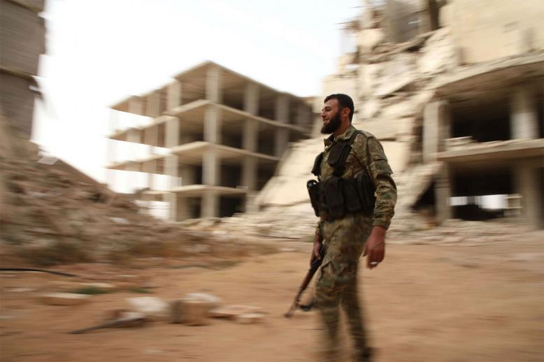 A Syrian rebel-fighter from the National Liberation Front