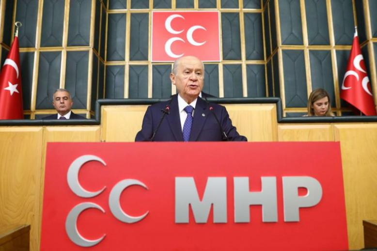 Turkey's Nationalist Movement Party's leader Devlet Bahceli speaks during a meeting in Ankara, on October 2