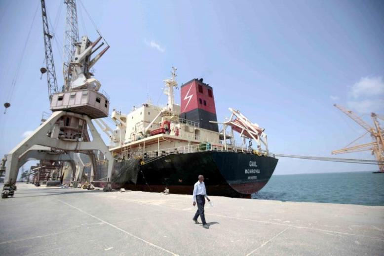 A cargo ship is docked at the port of Hodeidah in Yemen