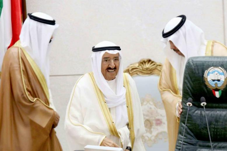 Kuwaiti Emir Sheikh Sabah Ahmad al-Jaber al-Sabah (C) upon his arrival at the opening ceremony of the new legislative year in Kuwait City, on October 30