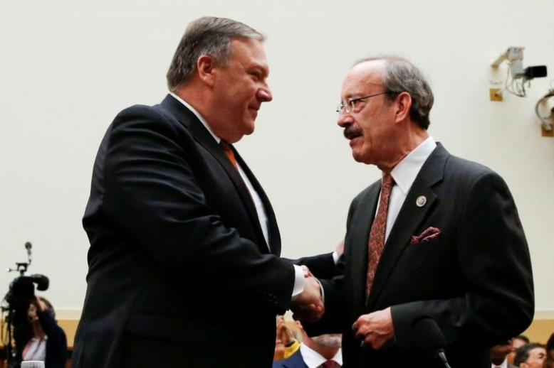 U.S. Secretary of State Mike Pompeo shakes hands with House Foreign Relations Committee Democratic Ranking member Rep. Eliot Engel