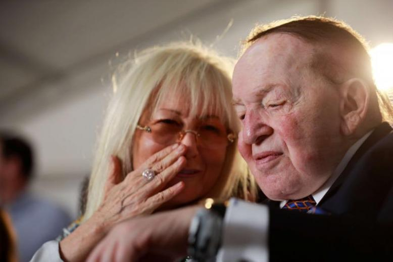 A 2017 file picture shows Miriam and Sheldon Adelson attending a ceremony at Ariel University in the Israeli settlement of Ariel in the occupied West Bank.
