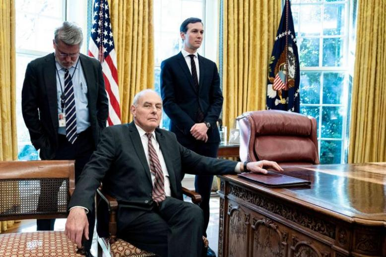 White House communications director Bill Shine (L), White House Chief of Staff John Kelly (C), and Senior Advisor Jared Kushner in the Oval Office of the White House, December 11