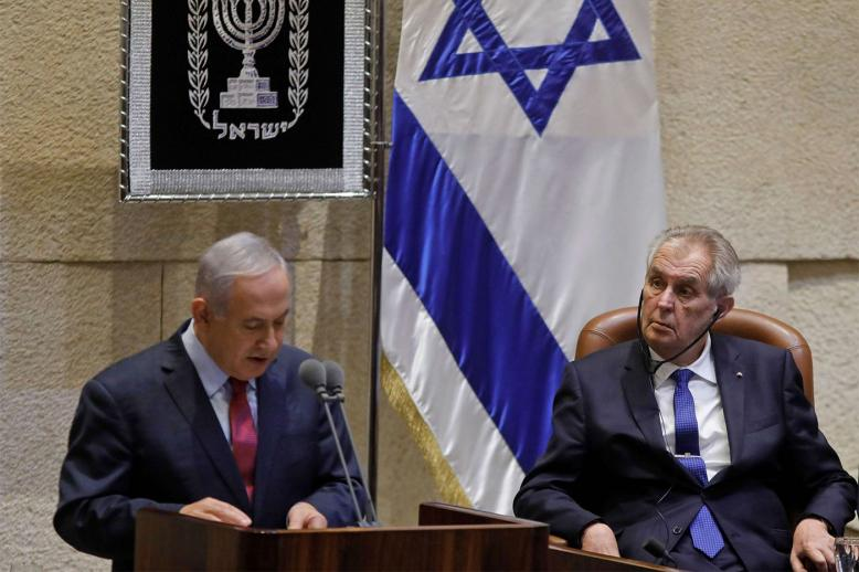 Czech President Milos Zeman listens to Israeli PM Benjamin Netanyahu during a session at the Knesset
