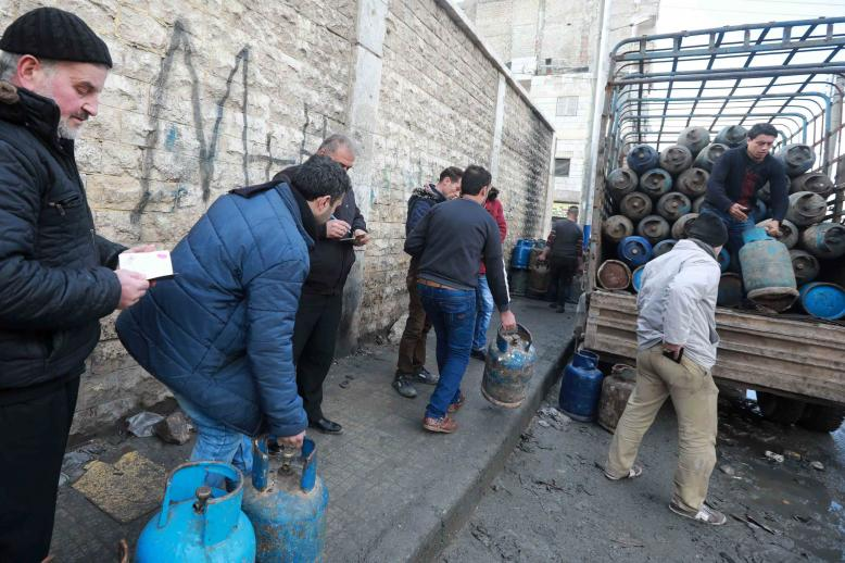 Since December, queueing for hours to buy gas has become part of everyday life in the Salah al-Din district.