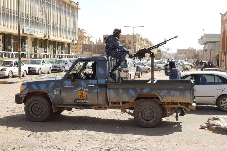Forces loyal to Haftar patrol in the southern Libyan city of Sebha