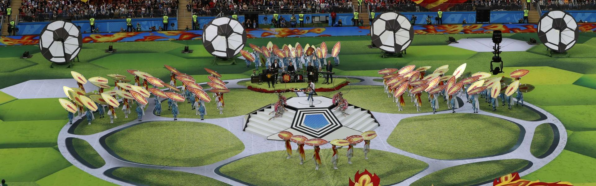 Artists perform before the group A match between Russia and Saudi Arabia which opens the 2018 soccer World Cup at the Luzhniki stadium in Moscow, Russia on June 14, 2018.