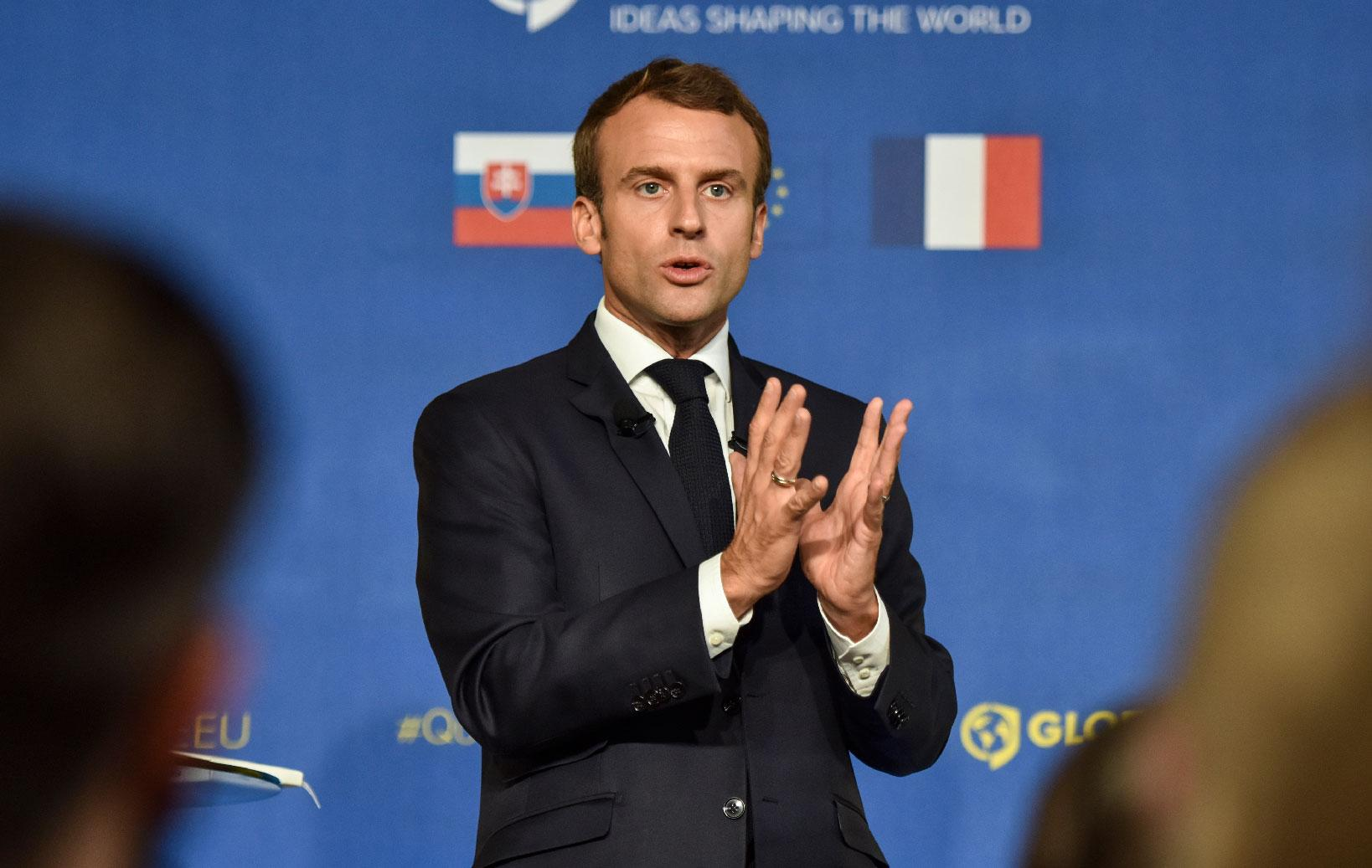 French President Emmanuel Macron speaks during the event 'Forming the Future of Europe' on 26 October 2018 in Bratislava, Slovakia.