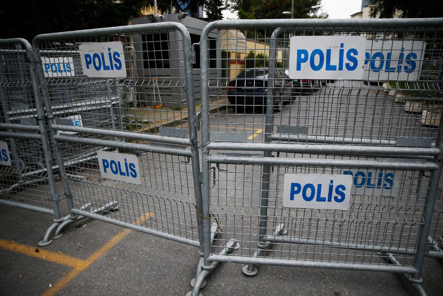 Barriers block the road leading to Saudi Arabia's consulate in Istanbul.