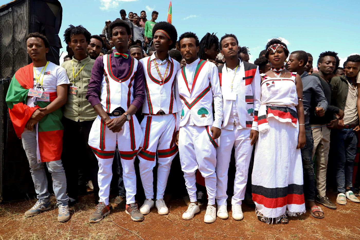 Youths wearing traditional Oromo costumes attend an Oromo Liberation Front (OLF) rally in the town of Woliso, Oromia Region, Ethiopia, October 21, 2018.