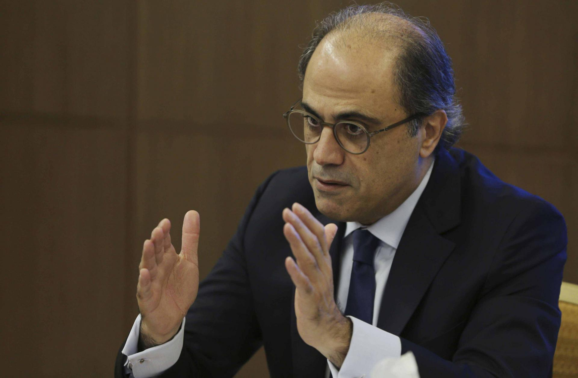 Jihad Azour, the IMF's Mideast and Central Asia director, talks during his press conference in Dubai, United Arab Emirates